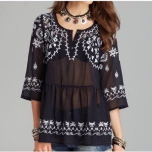 Free people pennies sequel embroidered peplum top